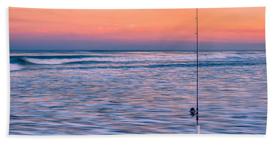 Fishing Bath Sheet featuring the photograph Fishing The Sunset Surf - Horizontal Version by Mark Robert Rogers
