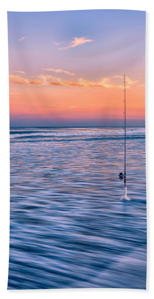 Fishing Bath Sheet featuring the photograph Fishing The Sunset Surf - Vertical Version by Mark Robert Rogers