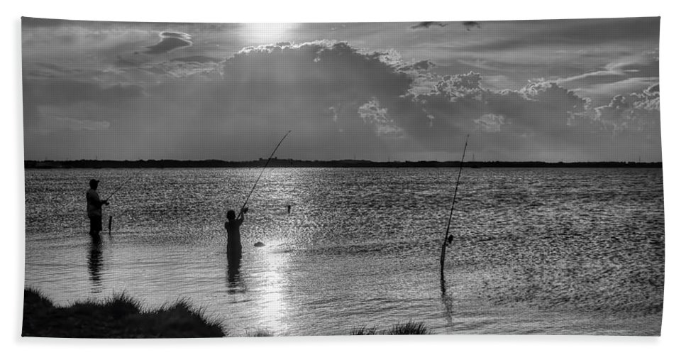 Fishing Hand Towel featuring the photograph Fishing With Dad - Black And White - Merritt Island by Nikolyn McDonald