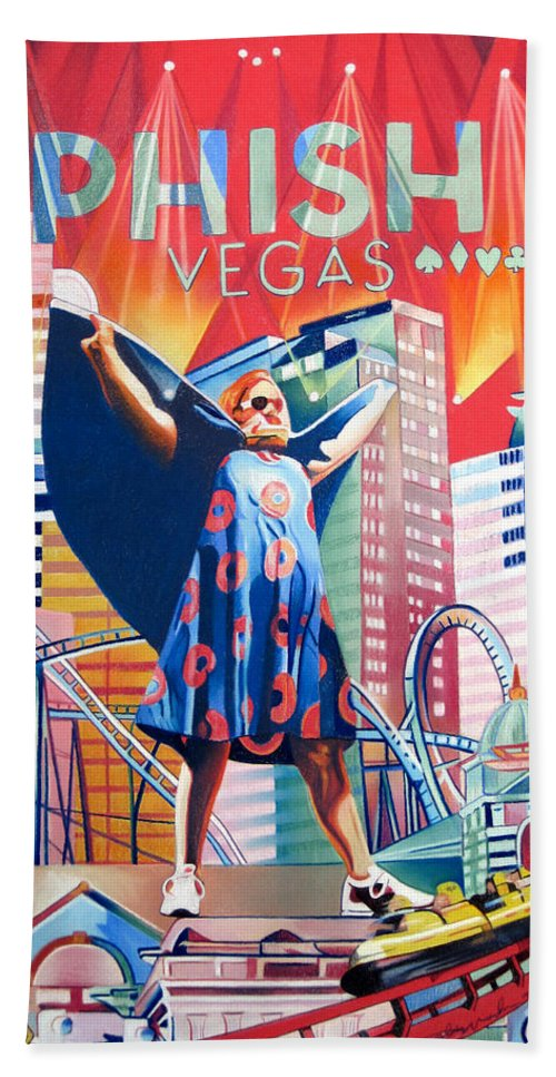 Phish Bath Towel featuring the drawing Fishman In Vegas by Joshua Morton