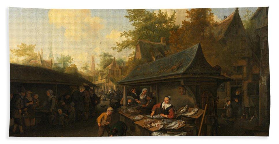 Cornelis Dusart Bath Sheet featuring the painting Fishmarket by Cornelis Dusart