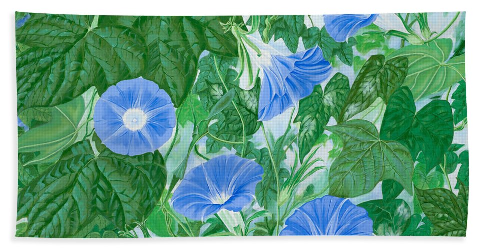 Morning Glory Flowers Hand Towel featuring the painting Five Faces Of Bridget by John Wilson