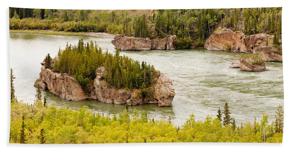Attraction Hand Towel featuring the photograph Five Finger Rapids Of Yukon River Yukon T Canada by Stephan Pietzko