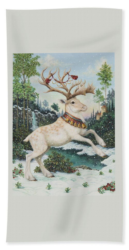 Christmas Hand Towel featuring the painting Five Gold Rings by Lynn Bywaters
