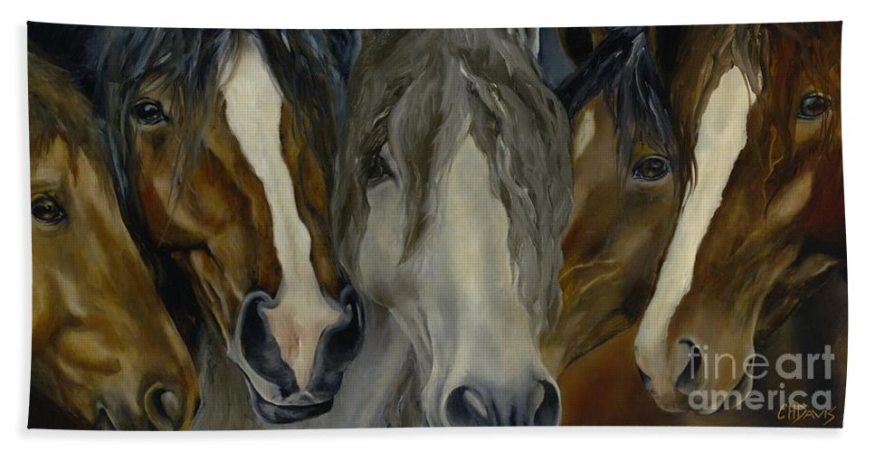 Horse Hand Towel featuring the painting Five Guys by Catherine Davis