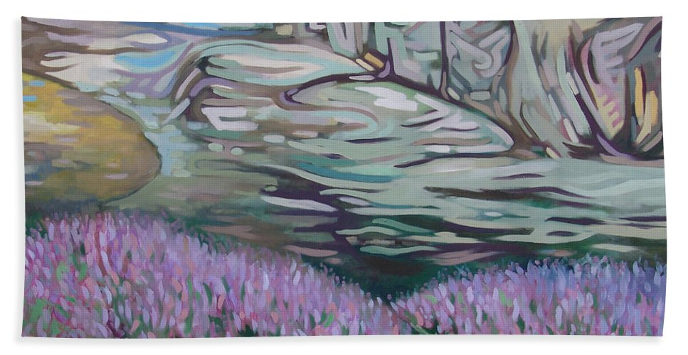 Fjord Hand Towel featuring the painting Fjord In Norway by Rita Pranca