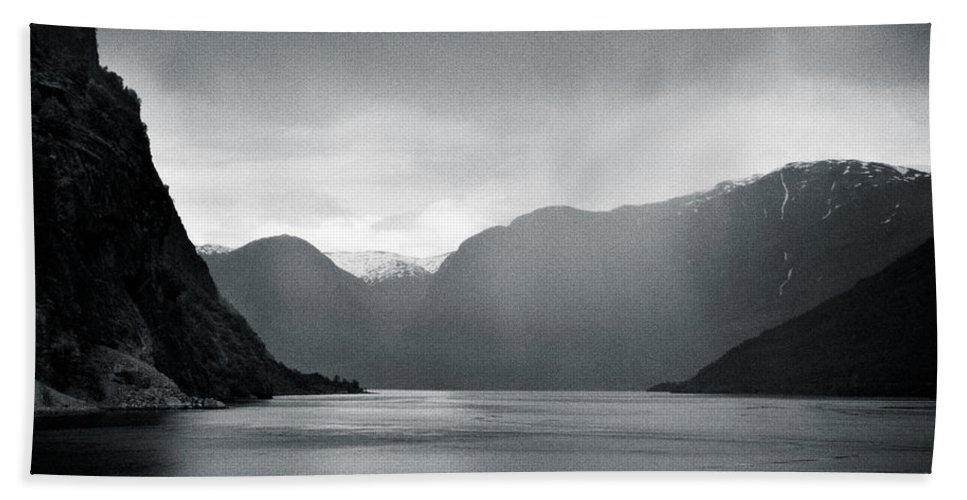 Norway Hand Towel featuring the photograph Fjord Rain by Dave Bowman