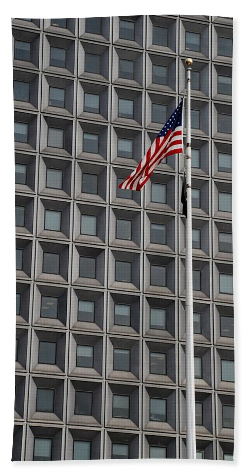 Abstract Hand Towel featuring the photograph Flag And Windows by Rob Hans