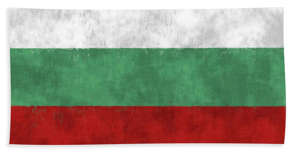 Abstract Bath Sheet featuring the digital art Flag Of Bulgaria by World Art Prints And Designs