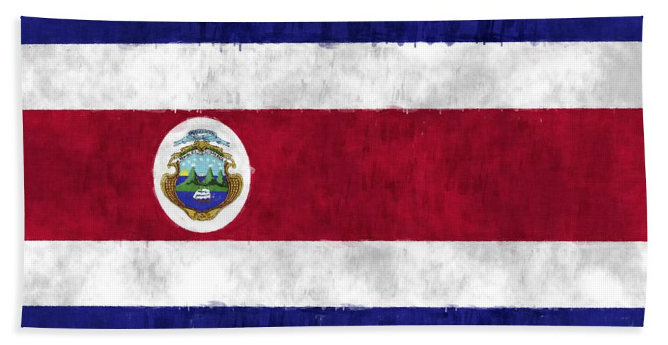 Central America Bath Towel featuring the digital art Flag Of Costa Rica by World Art Prints And Designs