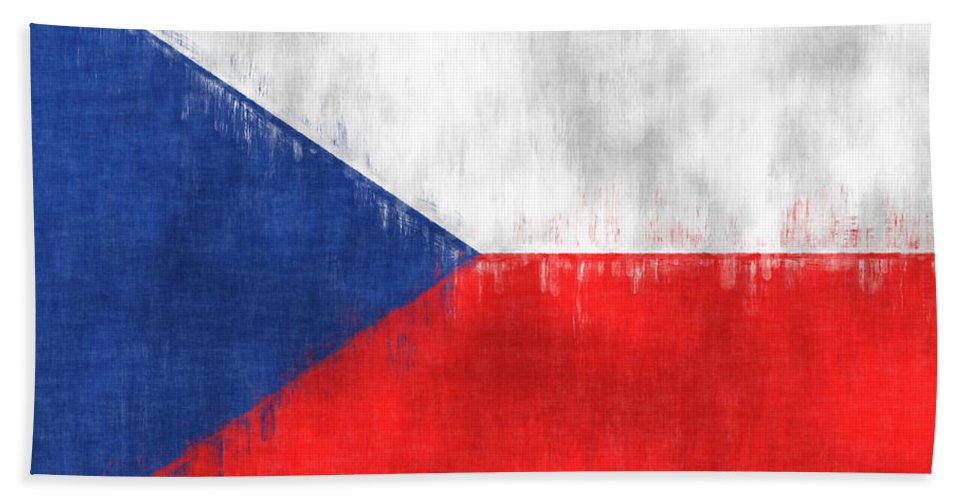 Abstract Bath Sheet featuring the digital art Flag Of Czech Republic by World Art Prints And Designs