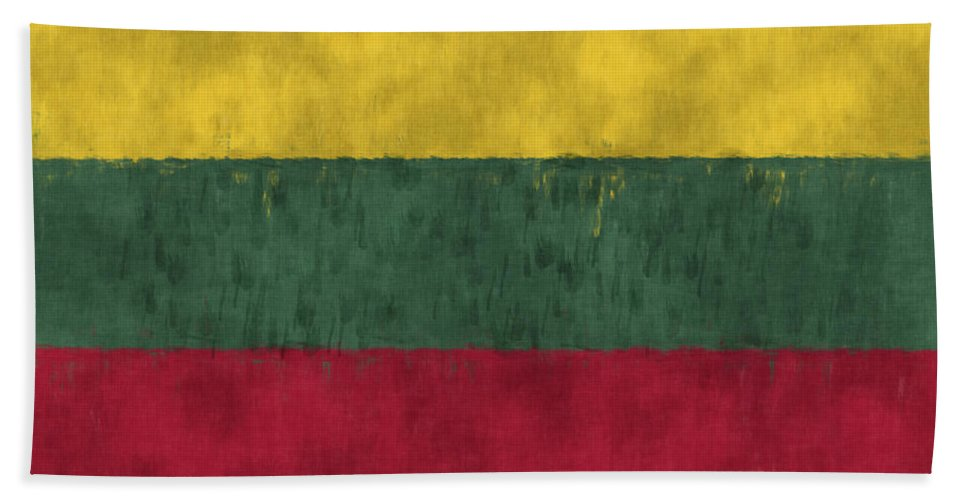 Abstract Hand Towel featuring the digital art Flag Of Lithuania by World Art Prints And Designs
