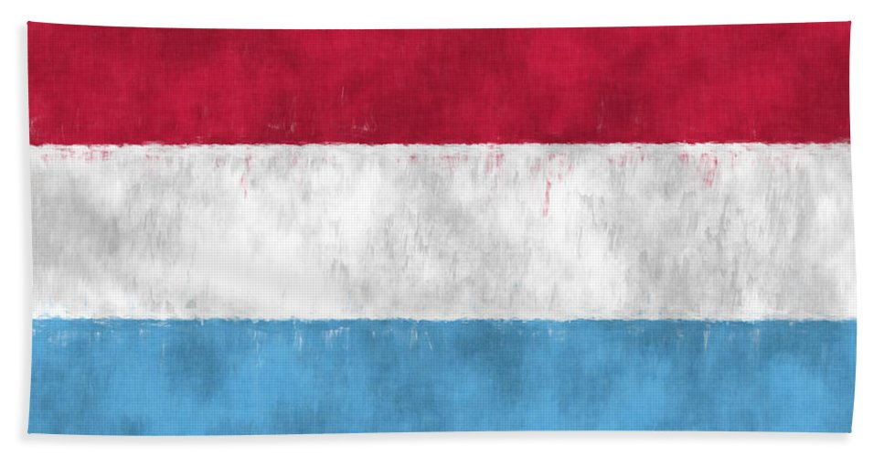 Abstract Bath Sheet featuring the digital art Flag Of Luxembourg by World Art Prints And Designs