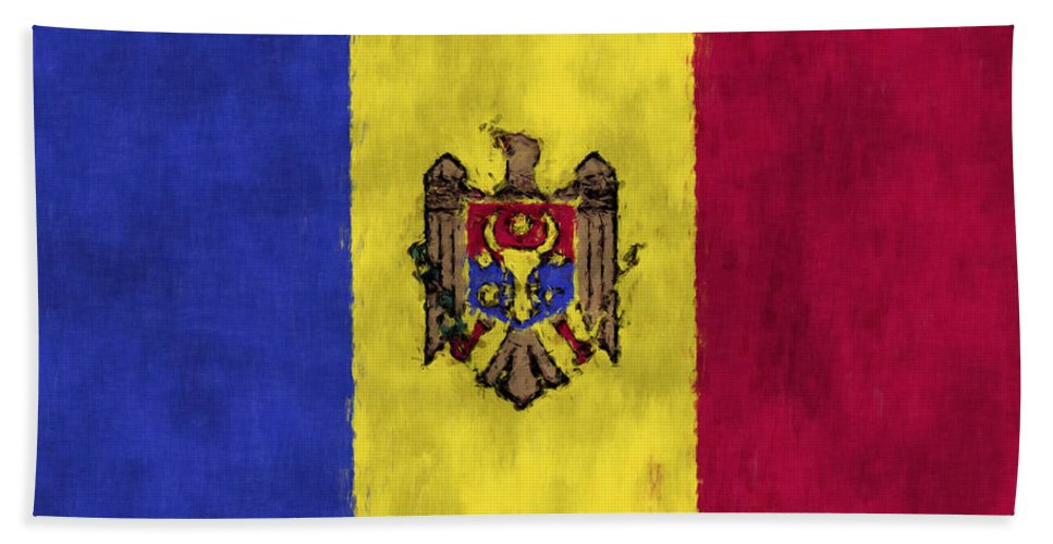 Moldavia Art Bath Sheet featuring the digital art Flag Of Moldavia by World Art Prints And Designs