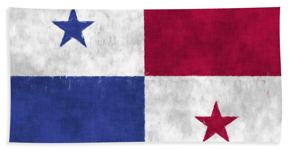 Central America Bath Towel featuring the digital art Flag Of Panama by World Art Prints And Designs