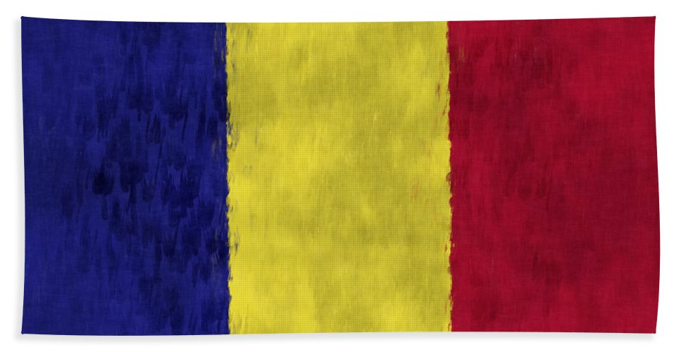 Abstract Bath Sheet featuring the digital art Flag Of Romania by World Art Prints And Designs
