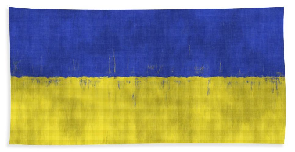 Abstract Bath Sheet featuring the digital art Flag Of Ukraine by World Art Prints And Designs