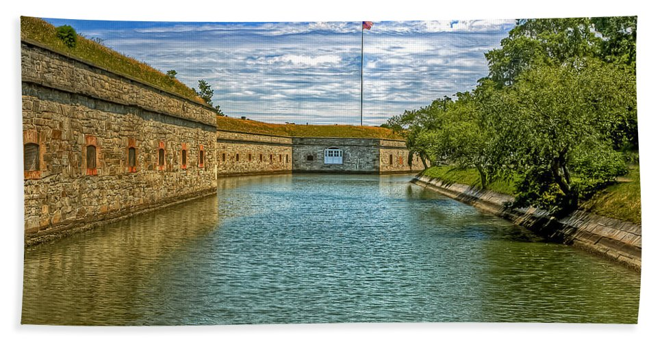 Casemate Bath Sheet featuring the photograph Flag Over The Moat by Jerry Gammon