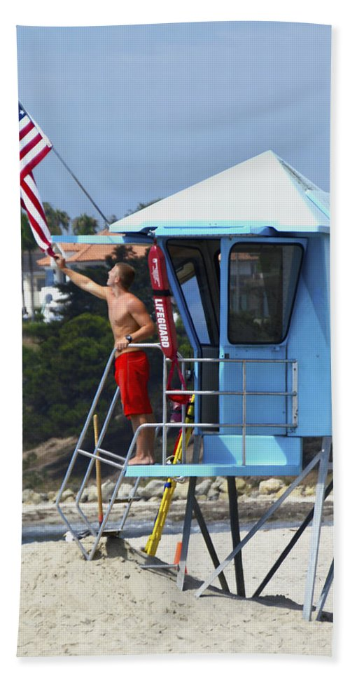 Floyd Snyder Hand Towel featuring the photograph Flag Waving Lifeguard by Floyd Snyder