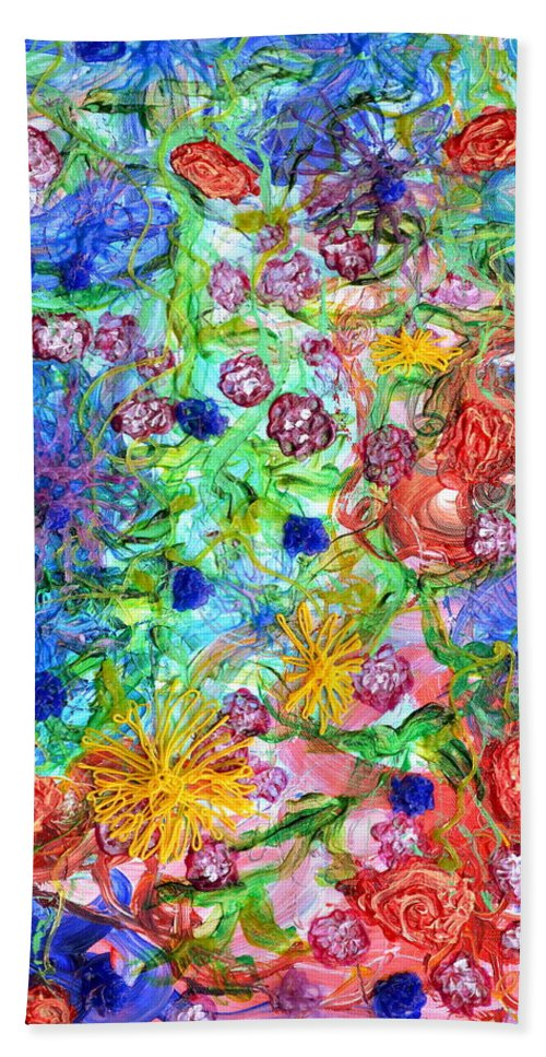 Flowers Hand Towel featuring the painting Flagrantly Floral by Regina Valluzzi