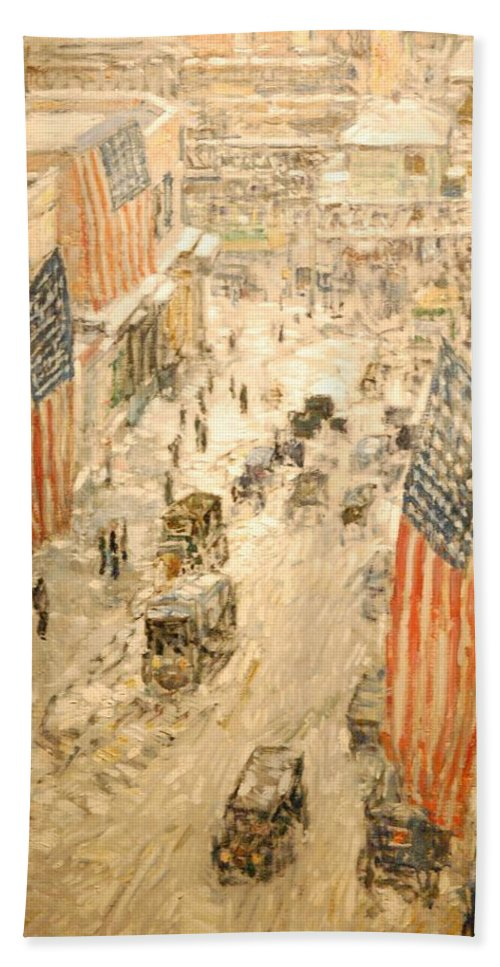 Flags On 57th St Bath Sheet featuring the painting Flags On 57th Street by Georgia Fowler