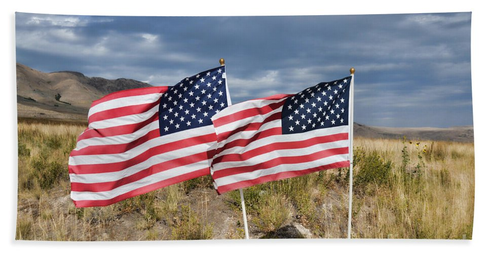 Flags Hand Towel featuring the photograph Flags On Antelope Island by Donna Greene