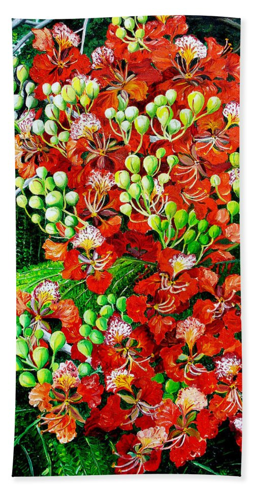 Royal Poincianna Painting Flamboyant Painting Tree Painting Botanical Tree Painting Flower Painting Floral Painting Bloom Flower Red Tree Tropical Paintinggreeting Card Painting Hand Towel featuring the painting Flamboyant In Bloom by Karin Dawn Kelshall- Best