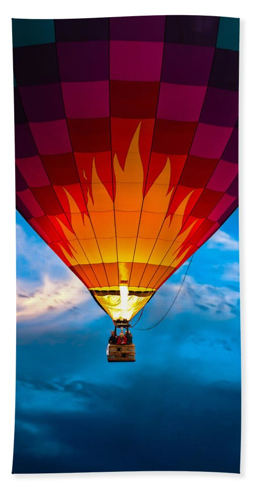 Hot Air Balloon Bath Sheet featuring the photograph Flame With Flame by Bob Orsillo