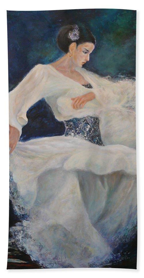 Dance Hand Towel featuring the painting Flamenco 2 by Sylva Zalmanson