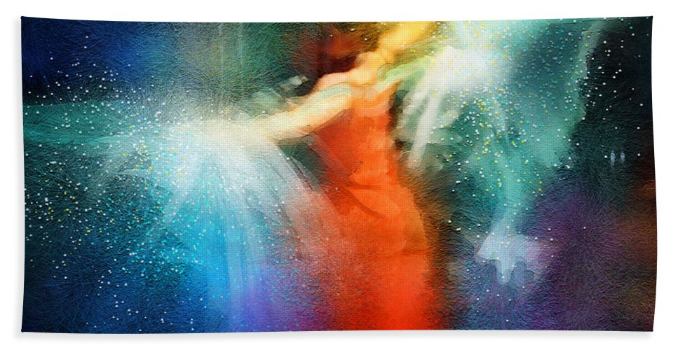 Flamenco Hand Towel featuring the painting Flamencoscape 01 by Miki De Goodaboom