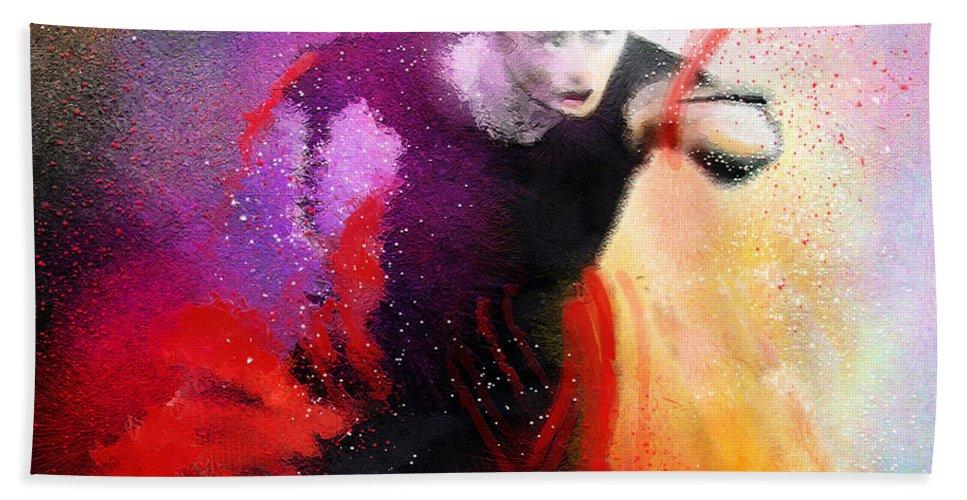 Flamenco Dance Hand Towel featuring the painting Flamencoscape 03 by Miki De Goodaboom