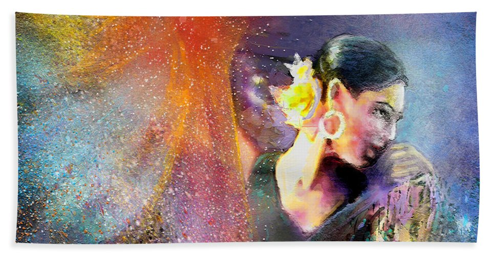 Flamenco Hand Towel featuring the painting Flamencoscape 04 by Miki De Goodaboom