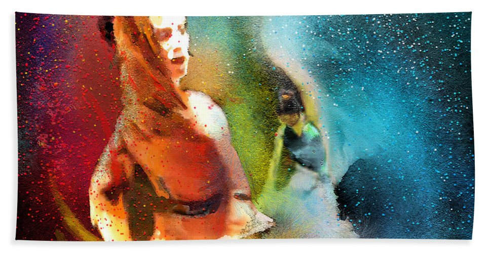 Flamenco Painting Bath Sheet featuring the painting Flamencoscape 08 by Miki De Goodaboom