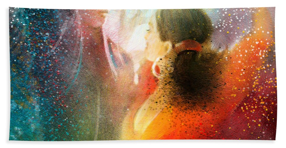 Flamenco Painting Hand Towel featuring the painting Flamencoscape 09 by Miki De Goodaboom