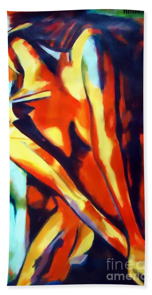 Contemporary Art Bath Sheet featuring the painting Flames Of Needs by Helena Wierzbicki