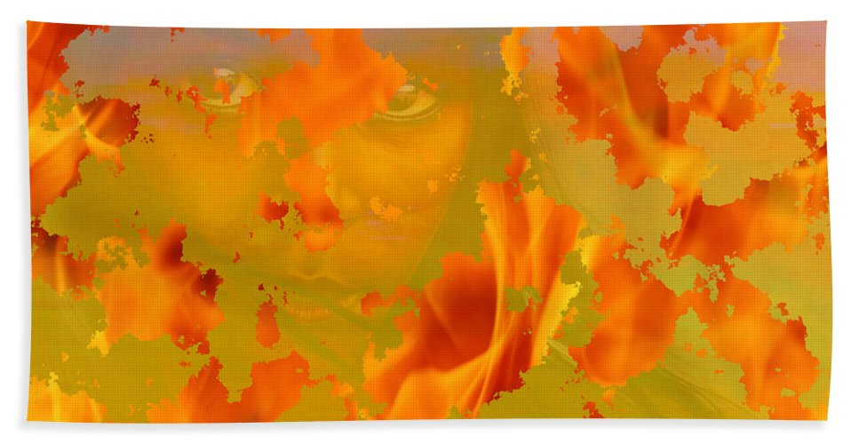 Native American Paintings Drawings Hand Towel featuring the painting Flaming Indian Girl Sunset by Mayhem Mediums