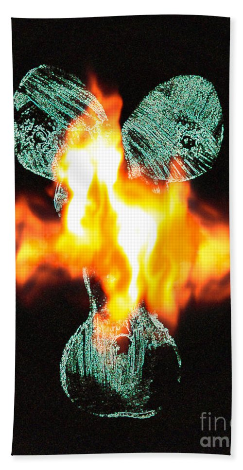 Lovers Paintings Hand Towel featuring the painting Flaming Personality by Mayhem Mediums