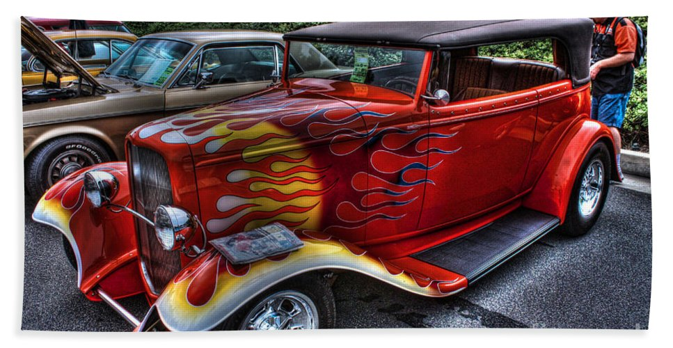 Street Rod Hand Towel featuring the photograph Flaming Rod by Tommy Anderson