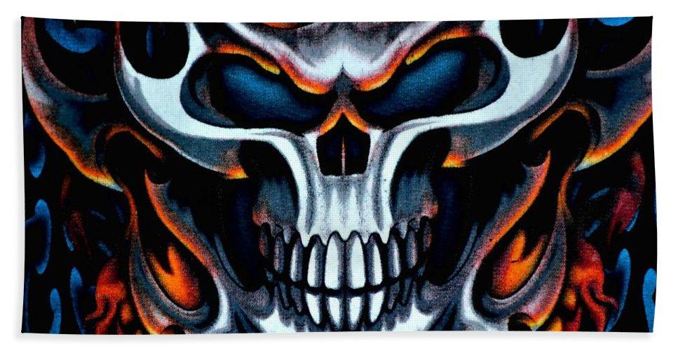 Skull Bath Sheet featuring the photograph Flaming Skull by Deena Stoddard