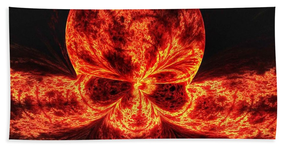 Fire Bath Sheet featuring the digital art Flaming Skull by FL collection