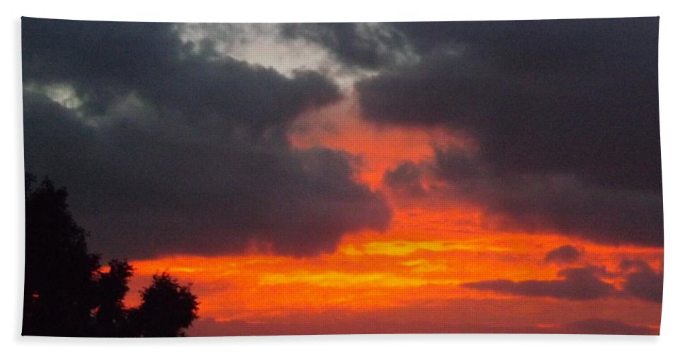Sunrise Hand Towel featuring the photograph Flaming Sunrise by Jussta Jussta