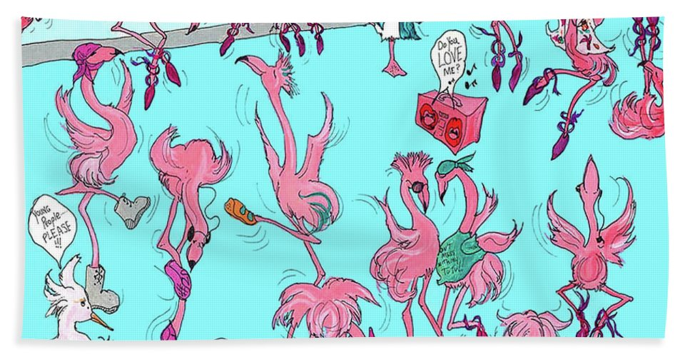Flamingo Bath Sheet featuring the painting Flamingo A Go Go by Lizi Beard-Ward