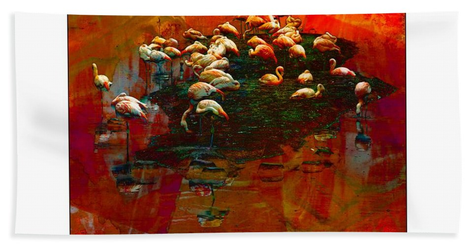 Flamingos Bath Sheet featuring the photograph Flamingo Colours by Alice Gipson