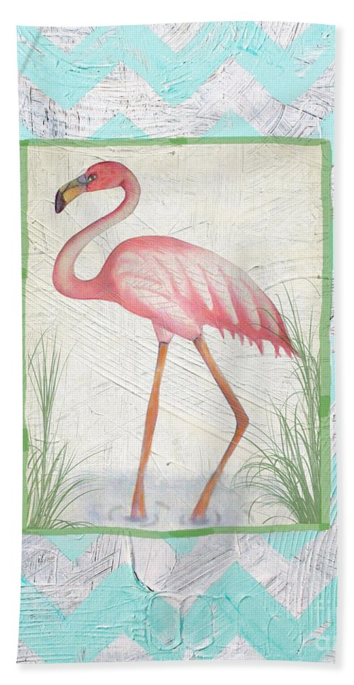 Jean Plout Hand Towel featuring the painting Flamingo by Jean Plout