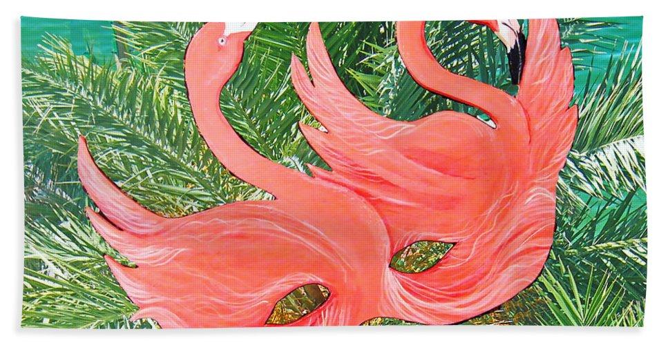 Flamingos Hand Towel featuring the mixed media Flamingo Mask 1 by Lizi Beard-Ward