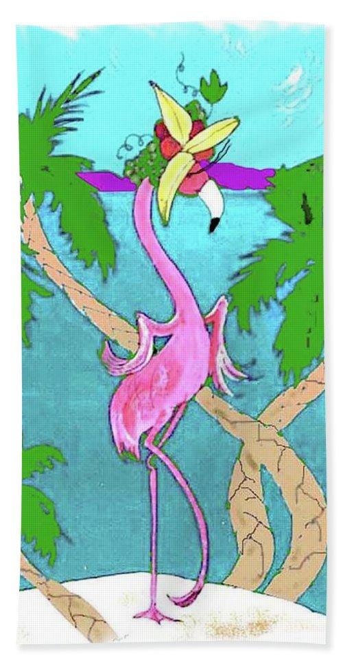 Flamingo Bath Sheet featuring the painting Flamingo Miranda by Lizi Beard-Ward