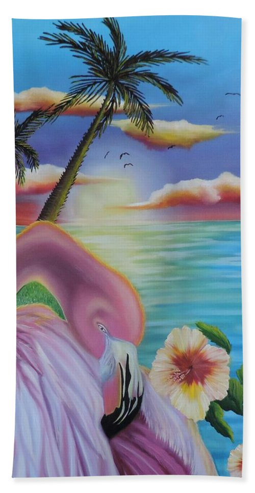 Florida Hand Towel featuring the painting Flamingo Sunset by Dianna Lewis