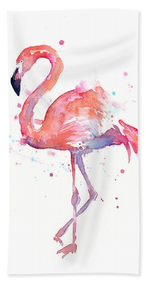 Bird Bath Towel featuring the painting Flamingo Watercolor by Olga Shvartsur