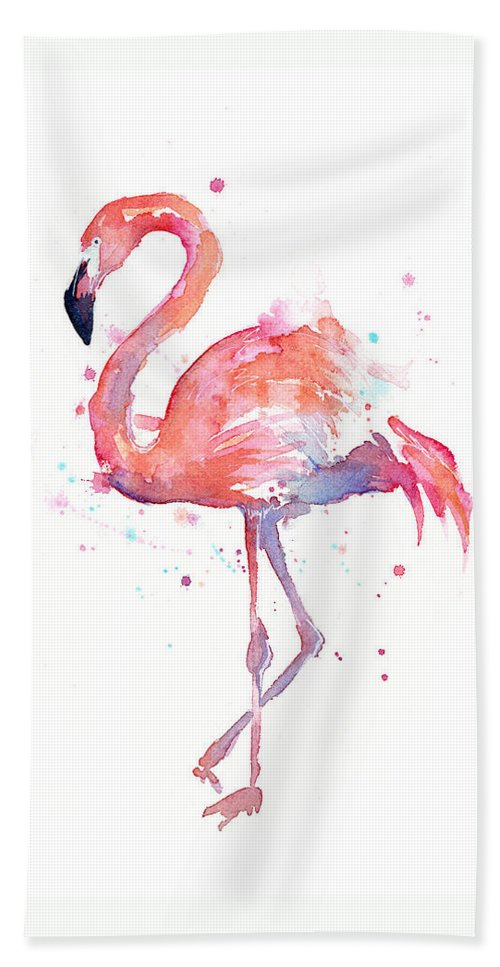 Bird Bath Towel featuring the painting Flamingo Watercolor by Olga Shvartsur