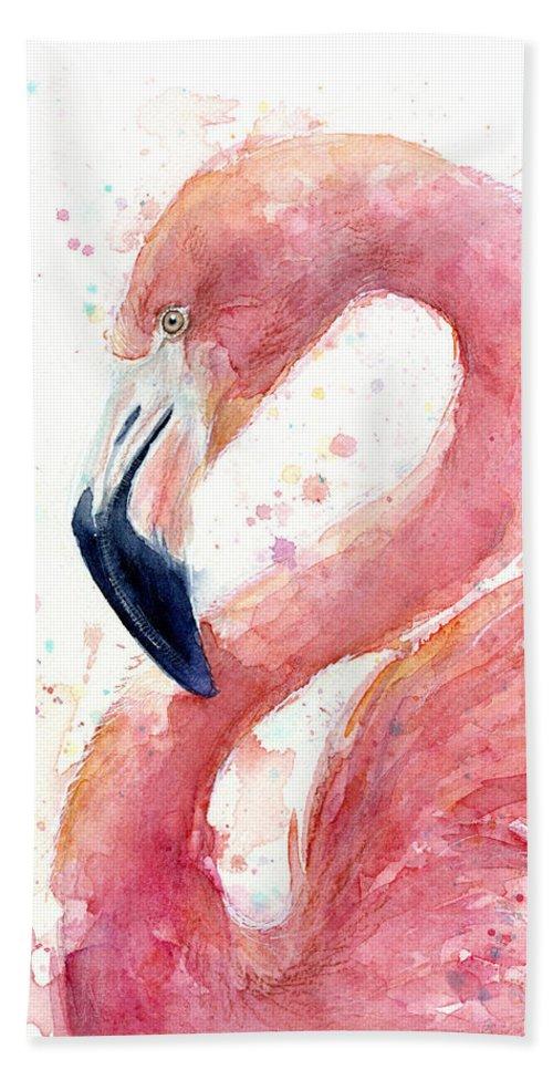 Flamingo Bath Towel featuring the painting Flamingo Watercolor Painting by Olga Shvartsur